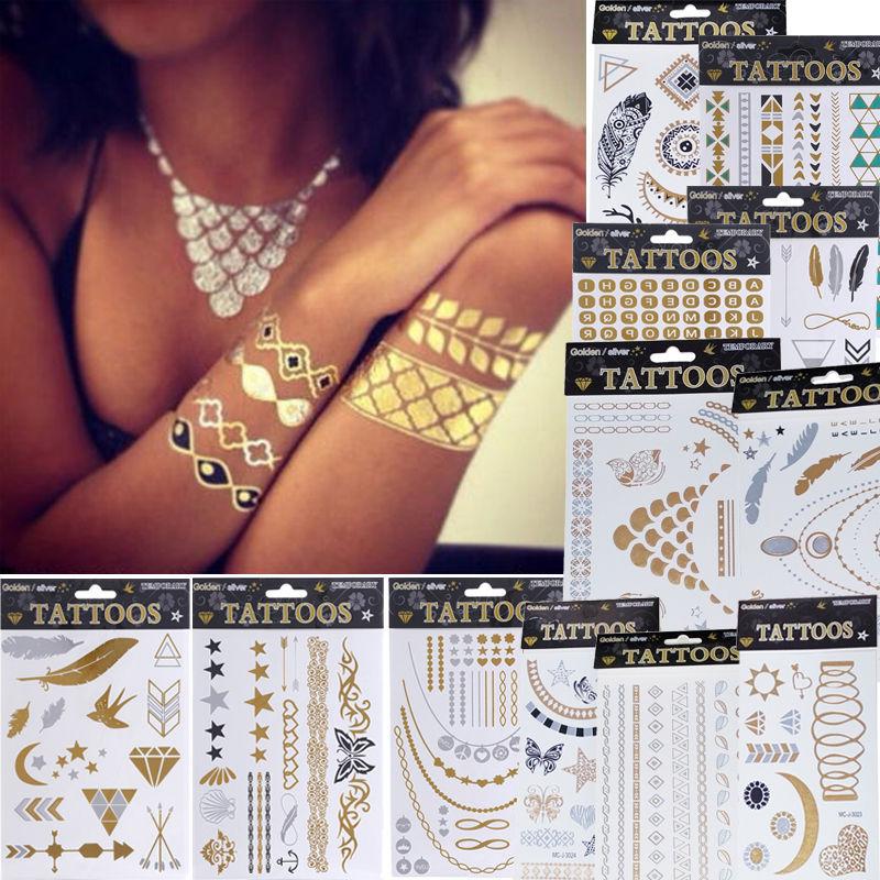 1 x Fashion Jewelry Metallic Gold Silver Temporary Tattoos Jewelry Flash Body Bling 12 Styles(China (Mainland))