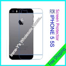 2pcs high clear glossy phone screen protector film For iphone 5G 5s Back guard protective film + Cleaning cloth
