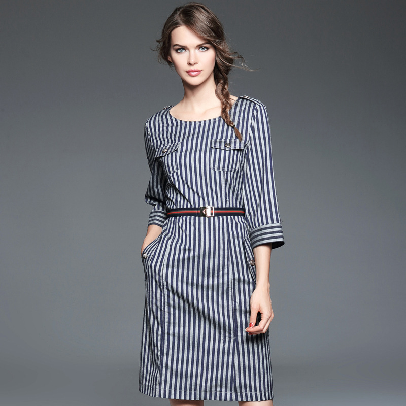 Striped Casual Dress 2016 new High Spring autumn fashion O-Neck Women Clothing plus size S XL Knee-Length winter dresses