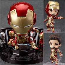 "Buy Super Hero Iron Man 3 Mark 42 Tony Stark Set Cute Nendoroid 4"" PVC Action Figure Collection Model Toy #349 JA30 for $19.99 in AliExpress store"