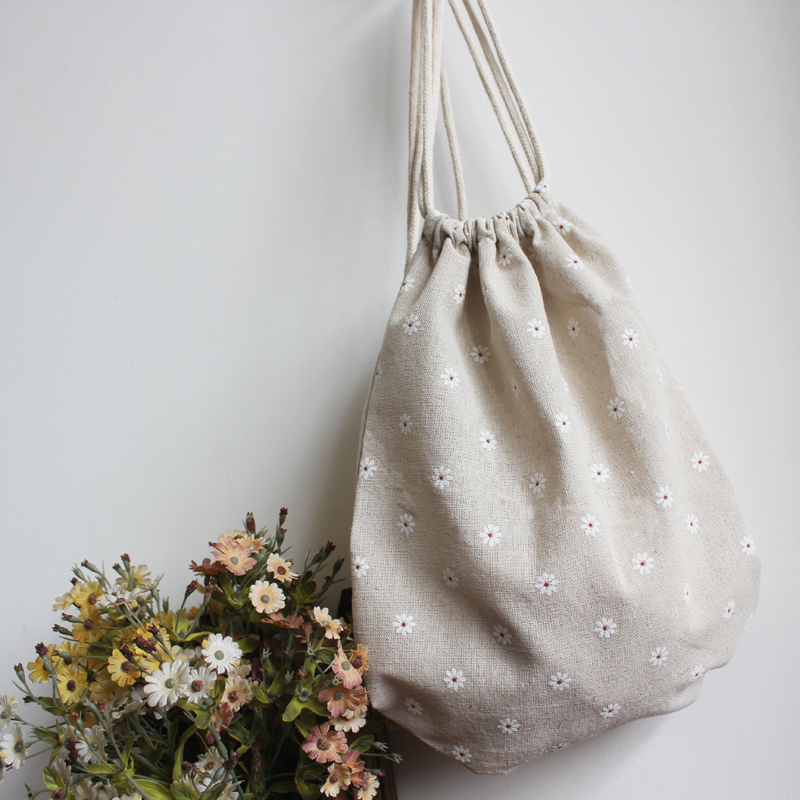 New arrival handmade hemp bags double-shoulder tote backpack white daisy(China (Mainland))