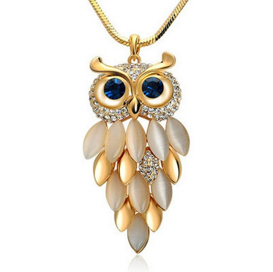 New Brand Design Fashion Gold Silver Necklaces Women Jewelry Crystal Rhinestone Gem CZ Diamond Owl Long Necklaces&Pendants A411(China (Mainland))