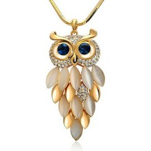 New Brand Design Fashion Gold Silver Necklaces Women Jewelry Crystal Rhinestone Gem CZ Diamond Owl Long Necklaces&Pendants A411
