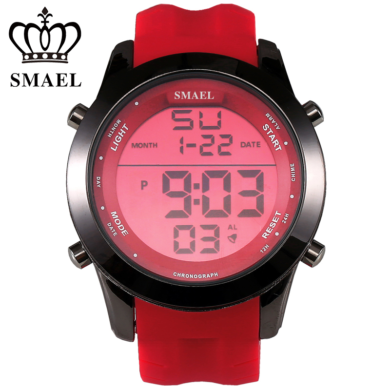 SMAEL Red Sport Watches LED Digital Watch Male Clock Top Brand Fashion Digital-watch relogio masculino Best Men Gifts WS1076(China (Mainland))