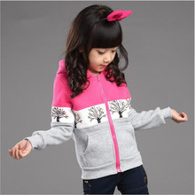 New Style 2015 Girls Hoodie Coats Autumn Winter Long Sleeve Print Jackets Children's Outwear Sweatshirts Pullover Clothing (China (Mainland))