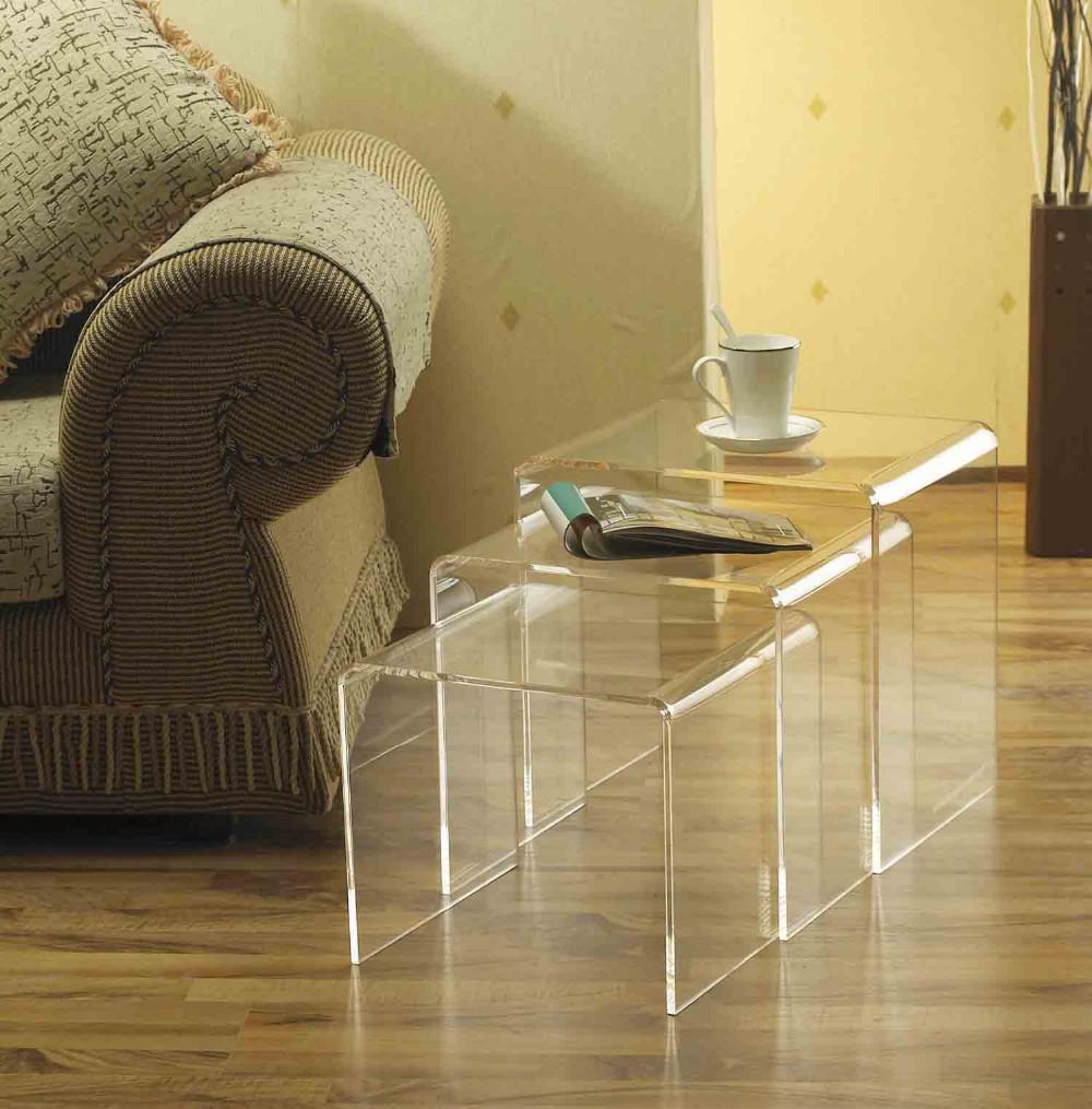 (3PCS/LOT) Plexiglass Nesting U table with hollowed-out Decoration,Acrylic Lucite Riser Tea Tables