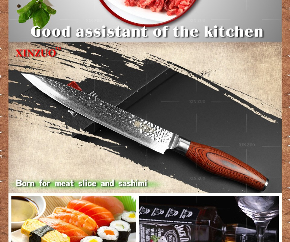 "Buy 2016Newest 8"" inch cleaver knife  73 layers Japan Damascus steel kitchen knife / mean knife with Color wood handle free shipping cheap"