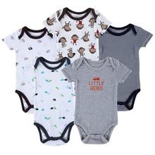 Летом хлопковой ребенка комбинезон, Малыша комбинезон с коротким рукавом 5 шт., Девочка мальчик одежда о-образным шеи, Новорожденных Bebe общая одежда