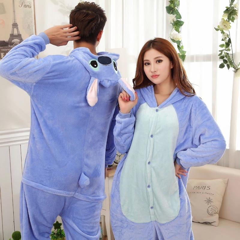 Blue-Stitch-Couple-Pijama-Pajamas-Cartoon-Animal-Cosplay ...