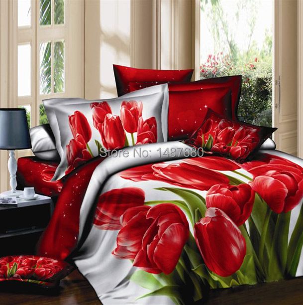 New arrival!100% cotton luxury queen size 3d bedding set /bedclothes red black flower printed wedding bedspread cover bed set(China (Mainland))