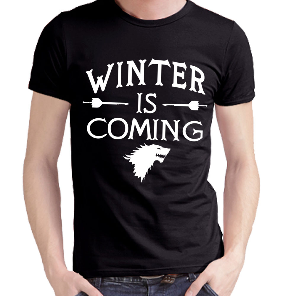 Free Shipping Hip Hop Game of Thrones Winter Is Coming T Shirts Casual Men Tee Shirt Printed Mens Tops Wholesale Man Clothing(China (Mainland))