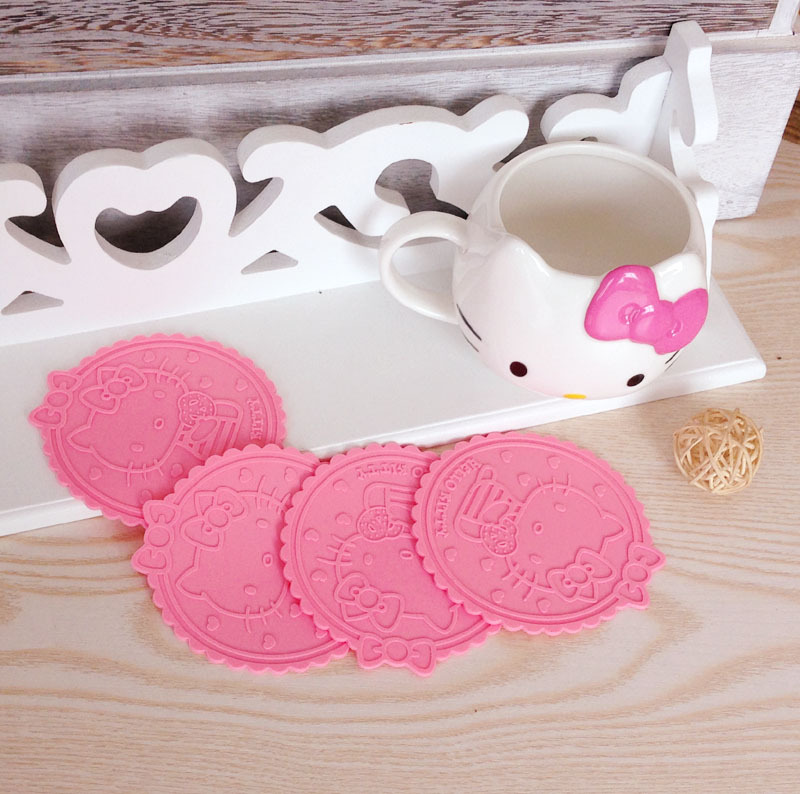 ^% 5pcs/lot Hello Kitty Silicone Anti Slip Kawaii pink Cup Mat Dish Bowl Placemat Coasters Base Kitchen Accessories Home Decor(China (Mainland))