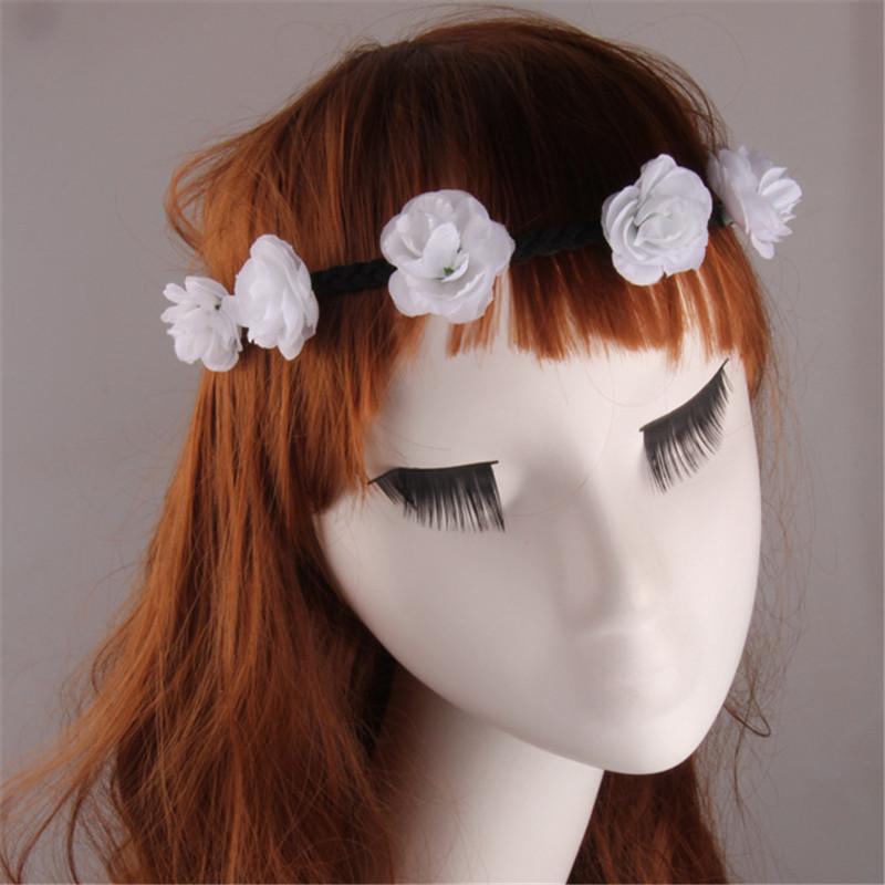2016 Bohemian Style Wreath Flower Crown Wedding Garland Forehead Hair Head Band Beach Wreath Headwear