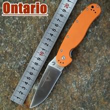 2015 nueva Ontario RAT modelo 1 outdoor adventure y formación EDC del bolsillo plegable del cuchillo AUS-8 blad naranja G10 manija que envía libremente