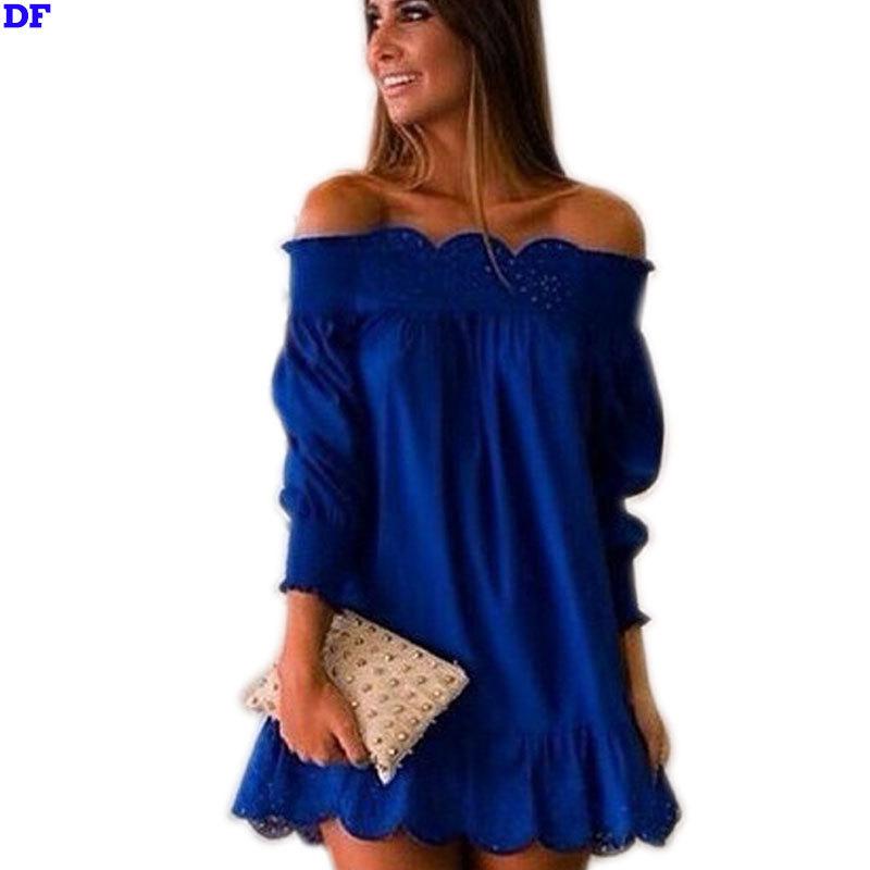 2015 Slash Neck Summer Beach Dress Vestidos De Festa Sexy Mini Evening Party Dresses Plus Size Casual Women Dress Wholesale S-XL