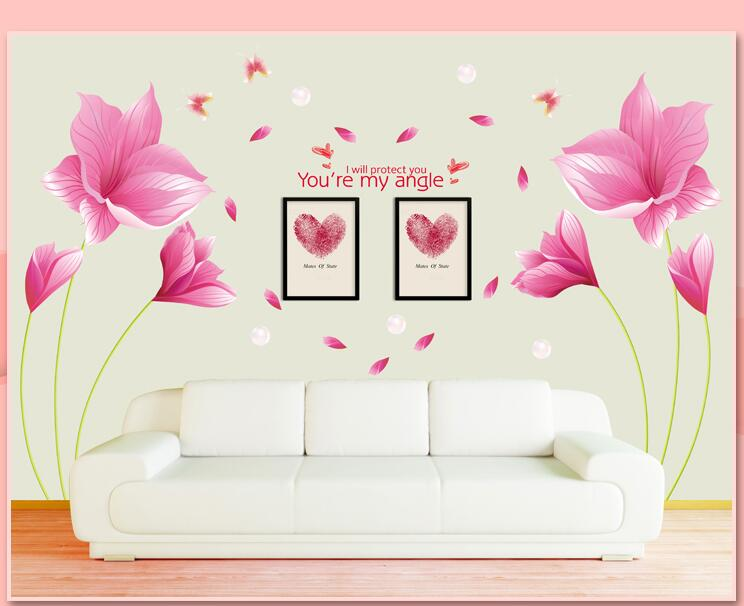 sell 1pcs The romantic pink orchid stickers room sofa TV background decoration can remove the wall stickers(China (Mainland))
