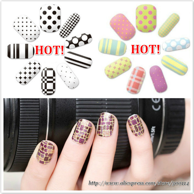 wholesale 2014 NEW ARRIVAL luxury design Nail care polish full stickers Green healthy beauty nail patch 200pks/lot free shipping(China (Mainland))
