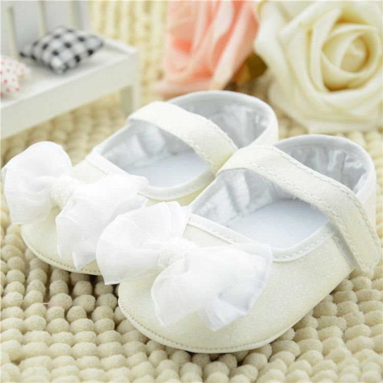 2015 White flower baby shoes headband set Christening and baptism crib shoes newborn shoes princess shoes(China (Mainland))