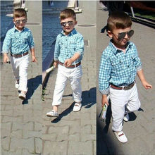 kids boys Children's sets grid shirt +white long pants+waistband 3 piece fashion handsome casual boys Baby clothes clothing suit(China (Mainland))