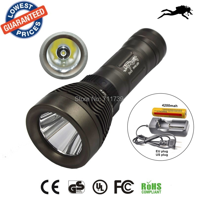 AloneFire Q2 diving flashlight CREE XML T6 Underwater LED Flashlight Torch Waterproof Light Lamp+18650 battery+charger