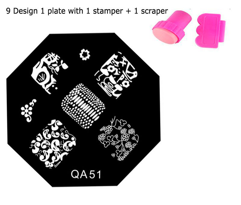 New 60 Designs Optional Nail Art Image Stamp Stamping Plates Manicure Template For DIY 1 Plates +1 Stamper + 1 Scraper MHA-08(China (Mainland))