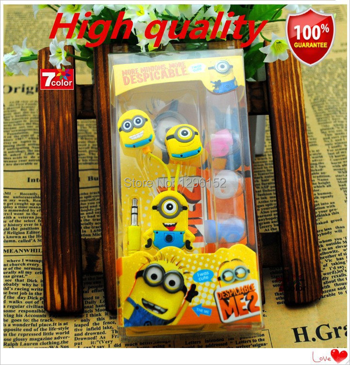 New Fashion! Despicable Me earphone Minion Cartoon headphones In-ear noise isolating sport fone de ouvido minions free shipping