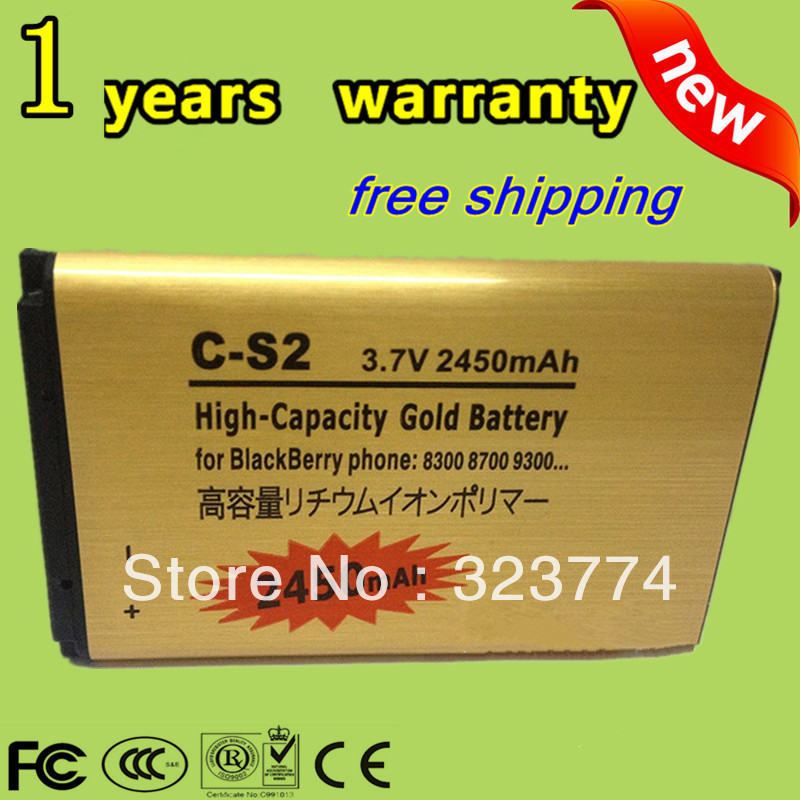 2450mAh High Capacity Gold Standard Battery C-S2 CS2For Blackberry Curve 8520 8300 9300 8700 8703 9330 7100 8330+Free shipping(China (Mainland))