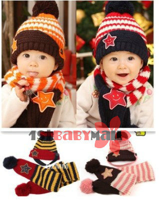 [1st baby mall] Retail one set baby girls boys autumn winter star pattern knitted hats scarf kids 2pcs suits 6 colors caps