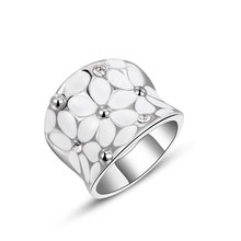 1PCS Free  Shipping! Fashion Austrian Crystal White Flower Ring White Gold Plated Women Jewelry for Chirstmas