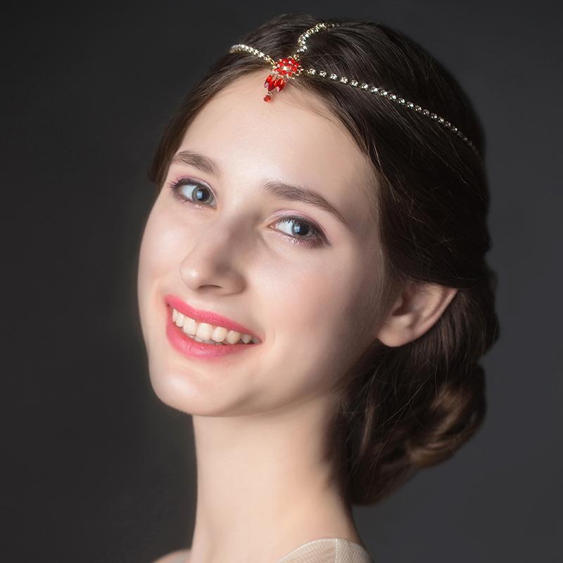 High Quality Red Rhinestone Wedding Hair Chain 2015 New Arrival Bridal Crystal Head Chain Headpiece Jewelry Accessories 78030(China (Mainland))