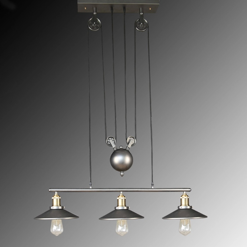 Retro Vintage Industrial Pulley Pendant Lights Adjustable