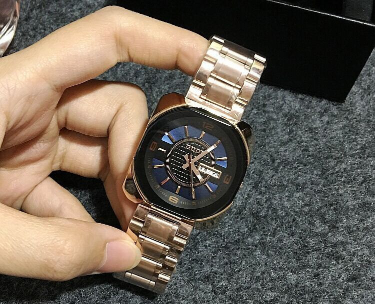 MS GUOU with simple fashion calendar week watch fashion personality retro square stainless steel watchband