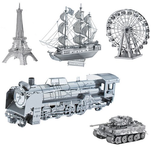 5PCS/Lot Attractive Ferris Wheel Eiffel Tower Black Pearl Warship Tank Steam Locomotive Metal Model Jigsaw DIY Toy 3D Puzzle(China (Mainland))