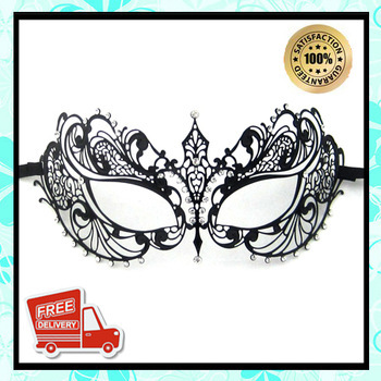 Free Shipping Metal Mask Hot Sell Metal Mask 10011 Half Face Black Metal Mask With Clear Stones Masquerade Mask Fast Delivery(China (Mainland))