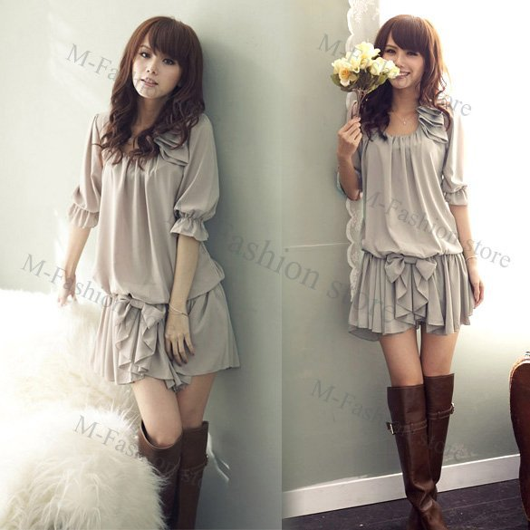 Free Shipping New Fashion Spring and Summer Womens' Chiffon Ruffle Bowknot Mini dress