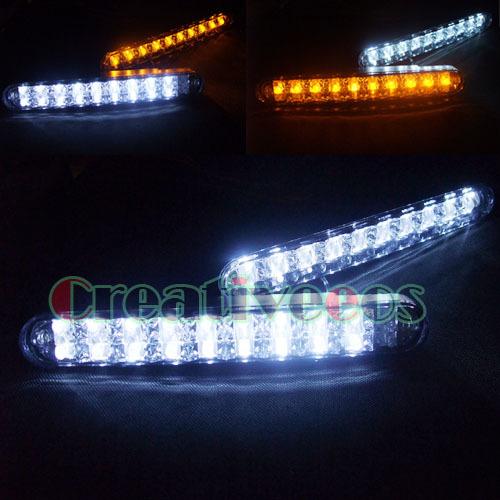2Pcs LED Daytime Running Driving DRL LED Lights Lamps Turn Signal Lights Fog Lights White/Yellow(China (Mainland))