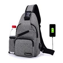 Chest Bag Men With Side Bottle Pocket Canvas Sling Bag Shoulder (USB Charge Interface) Satchel Large Crossbody Charing Bag 2019(China)