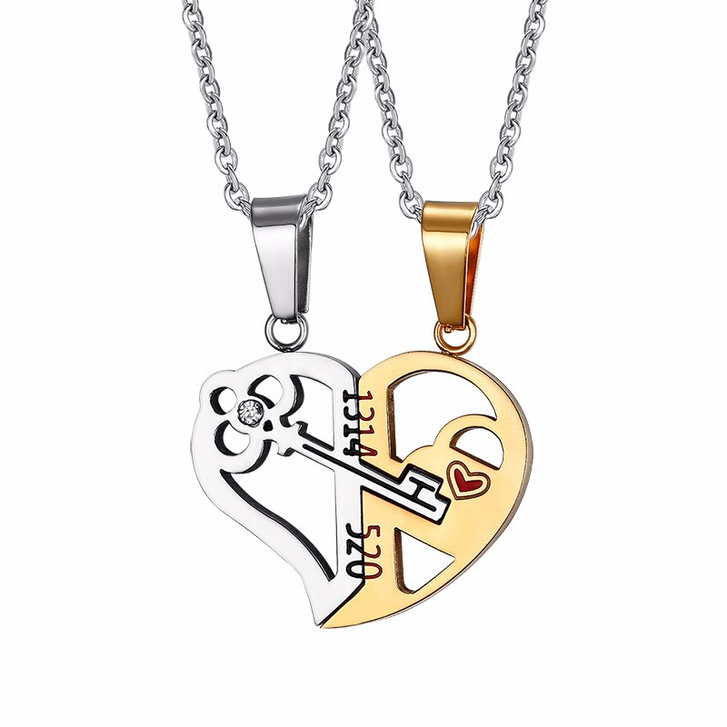 Silver and Golg Couple Necklace Heart Shpaes