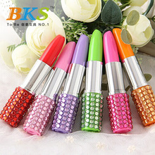 Free shipping han edition plastic rhinestone creative cartoon set auger ballpoint pen Lipstick pen custom logo advertising pen(China (Mainland))