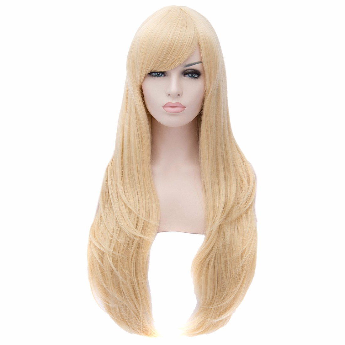 Pale Gold Blonde Side Swept Fringe Long Straight Resistant Women Full Wigs<br><br>Aliexpress