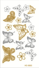 10x6cm sex products Supply 10.5*6cm waterproof tattoos gold tattoo flash tattoos gold silver tatoo temporary stickers HC-5003