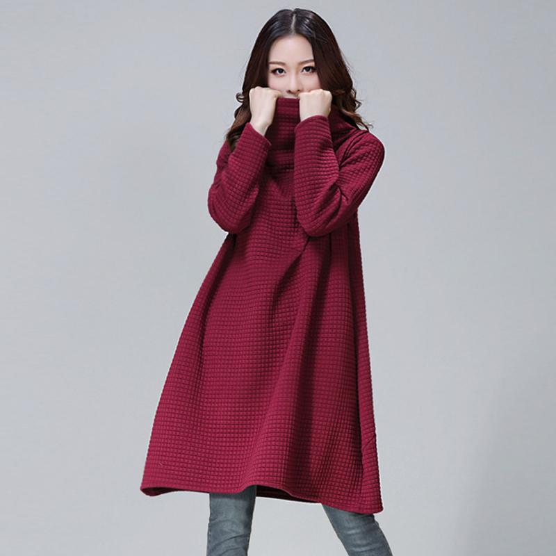 Fashion 2015 Women Autumn Winter Sleeve Maternity Dress Female Oversize Casual Loose Pregnant Ladies Pile Collar Plaid Dress(China (Mainland))