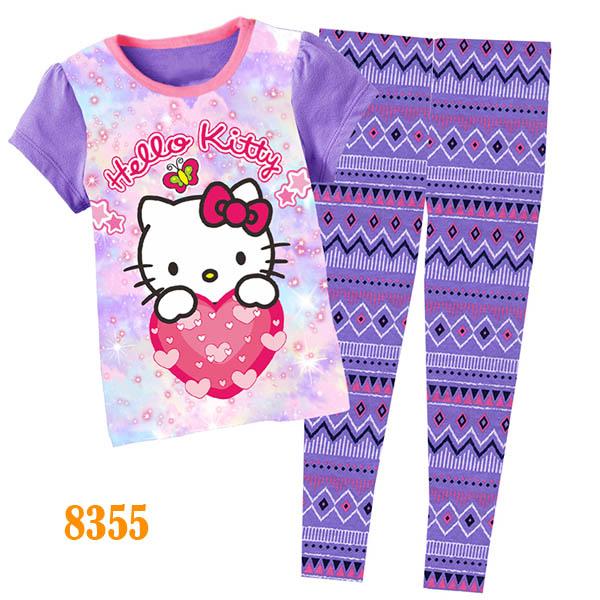 girls hello kitty clothes baby cartoon pijamas kids summer pyjamas children short sleeve sleepwear 8355(China (Mainland))