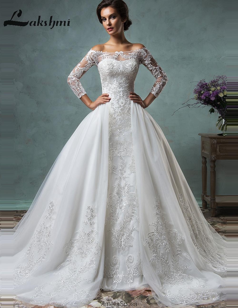 Wedding Dresses Lace Full Skirt : Popular detachable wedding dress buy cheap
