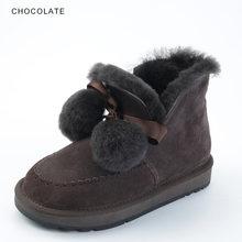 INOE yeni stil inek süet deri kadın koyun yün kürk astarlı ayak bileği kısa kar botları kadınlar için pom-pom kış ayakkabı siyah gri(China)
