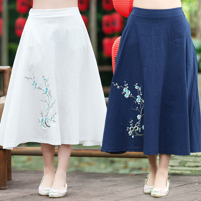 Chinese clothing store women summer brand original long blue white a-line midi skirt longuette 2017 ethnic clothing
