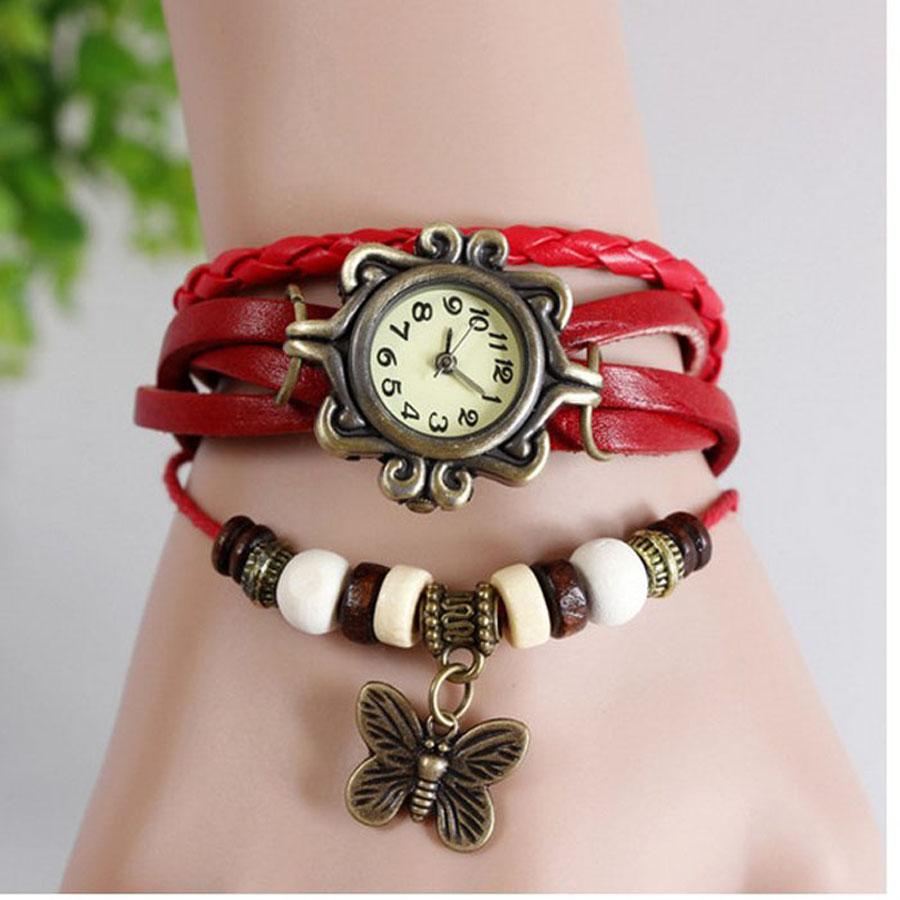 500pcs Free Shipping 2013 Ladies Women Vintage Bracelet Watch Butteryfly Pendant Leather Quartz Wristwatches<br><br>Aliexpress