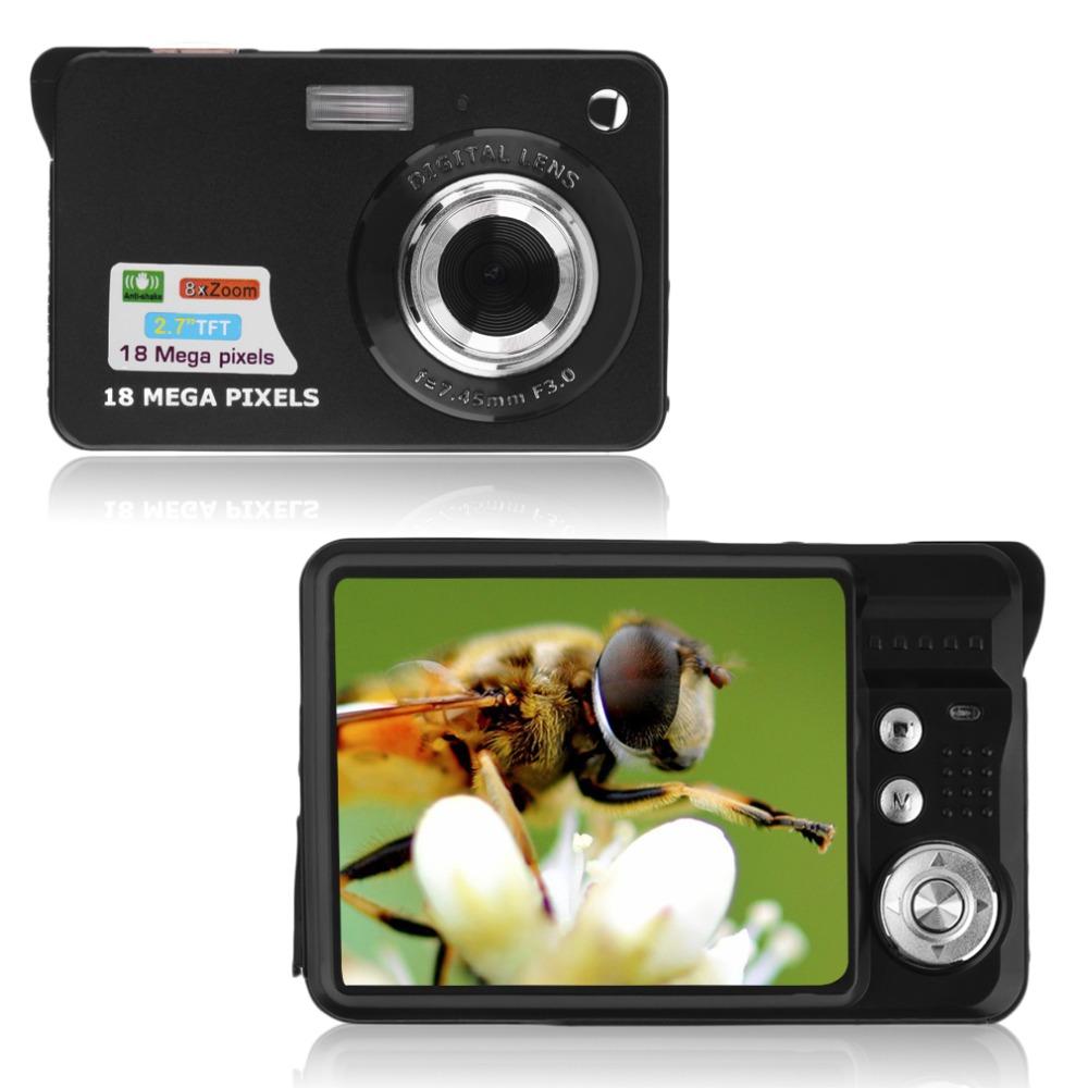 Black 9.5 * 6 * 2.5cm TF card JPEG / AVI CMOS Senor 2.7'' TFT LCD HD 720P 18MP Digital Camcorder Camera 8x Zoom Anti-shake