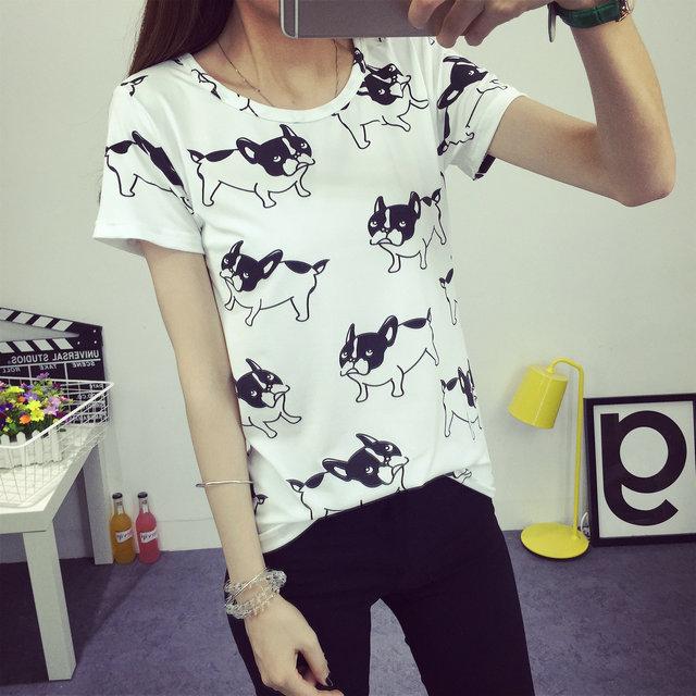 2016 женщин т футболка летние стиль нижнего уникальный Doggs печатных мода одежда о-образным шею точки короткий топы размер M-XXL бесплатная доставка