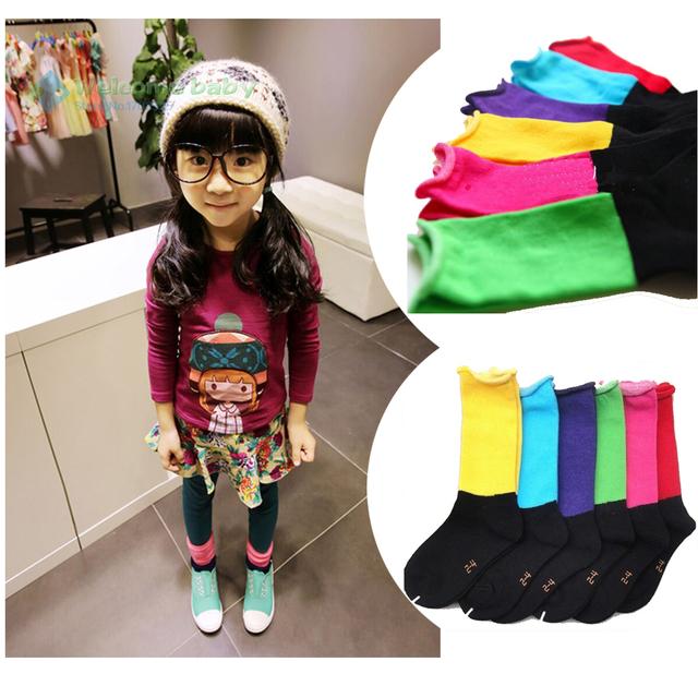 Конфеты цвет мода дважды цветов лоскутное дизайн прекрасный хлопок ребенок куча носок ...